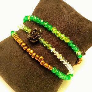 🔥2/$10🔥Black Rose Green Bracelets Bundle